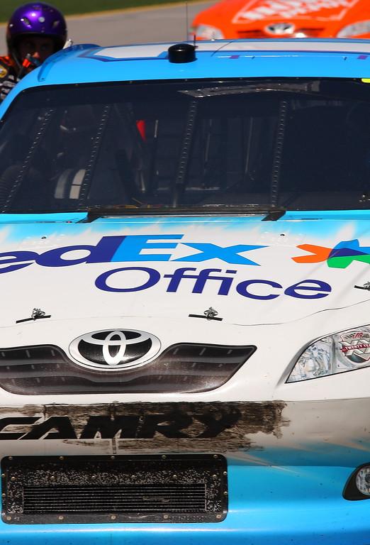 Denny Hamlin pit road scuffed bumper Talladega