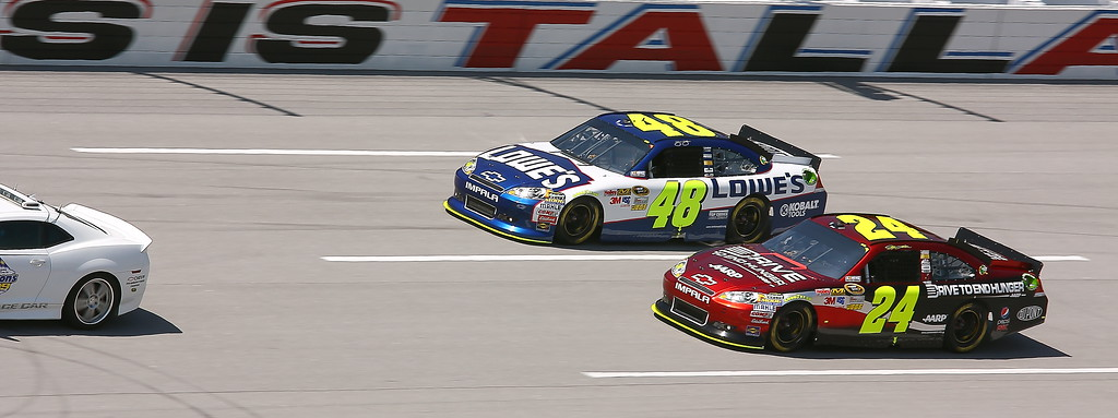 Jeff Gordon Jimmie Johnson up front to start the Aaron's 499 Talladega