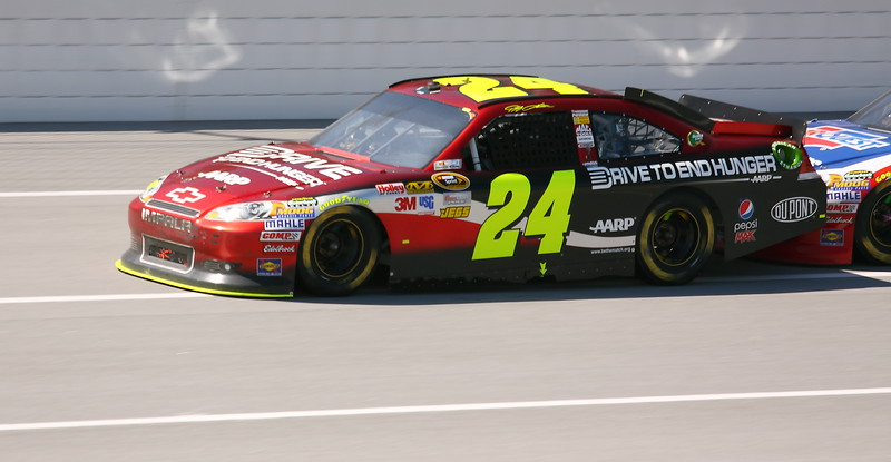 Jeff Gordon No 24 Drive to End Hunger car being pushed by Mark Martin in his Carquest No 5 Chevrolet