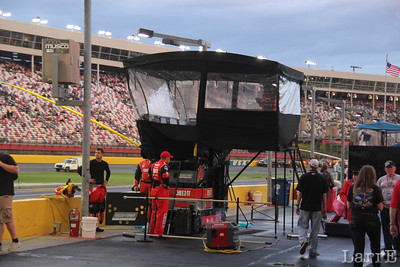 the Cheez-It team has one of the enclosed crew chief towers.