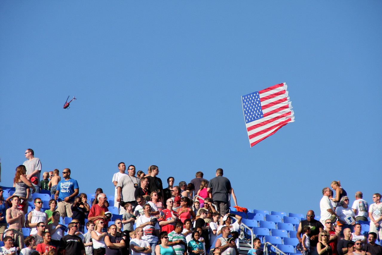 the chopper pulled this flag around the track