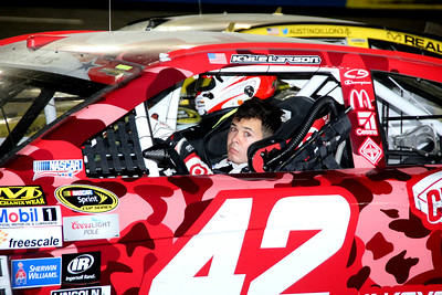 A  tired Kyle Larson after the race.