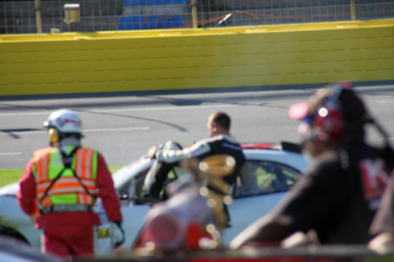 Chase Miller gets out after a qualifying crash