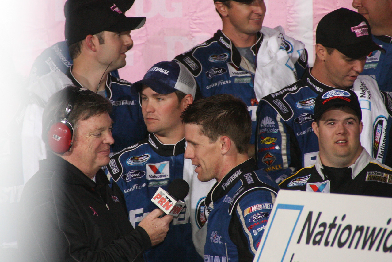 Carl Edwards gives the winners interview