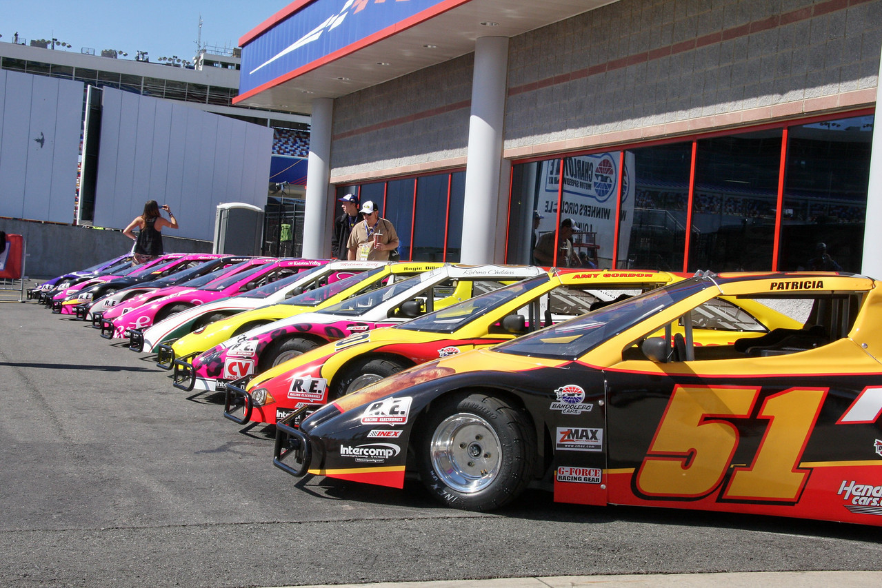 "Charlotte Motor Speedway's ""Better Half""<br /> bandolero cars ready for action."