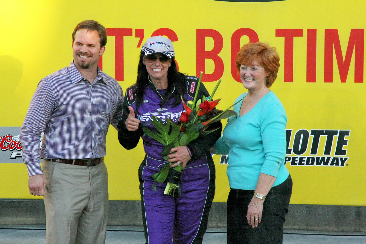 Charlotte Speedway manager Marcus Smith with 3rd place Wendy Venturini and race organizer Stevie Waltrip