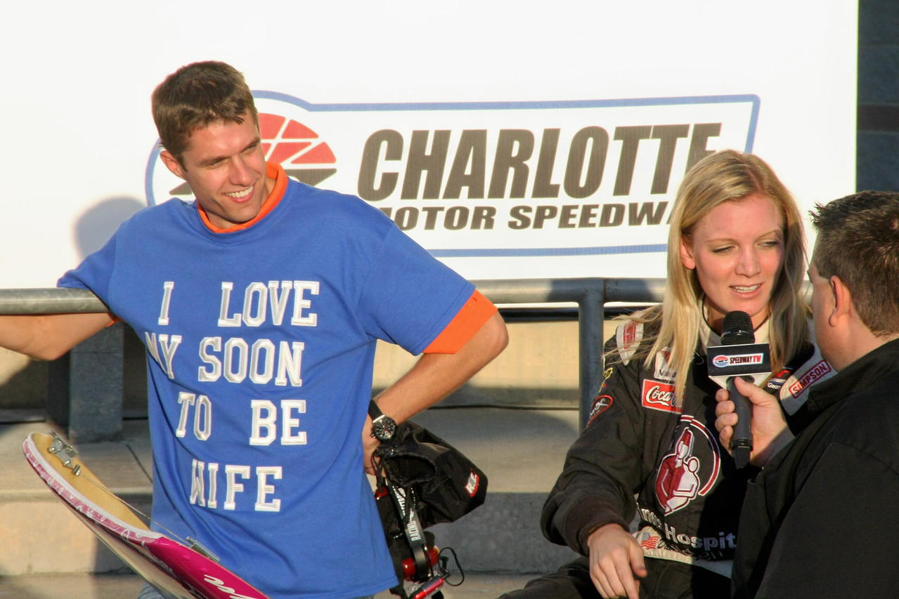 David Ragan watchers fiance Jacquelyn  Butler give her 2nd place interview