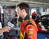 Martin Truex is interviewed during a break from tire testing