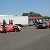 NASCAR K & N cars line up for inspection.