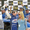 Miller Lite driver Kurt Busch and his wife Eva Bryan with the winning Kobalt Tools Championship Wrench.