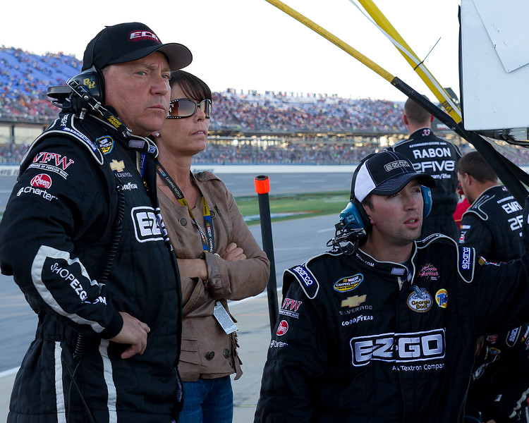 "Hornaday Team watches as Ron fights to the front prior to the ""Big One"" at Talladega's Mountain Dew 250."