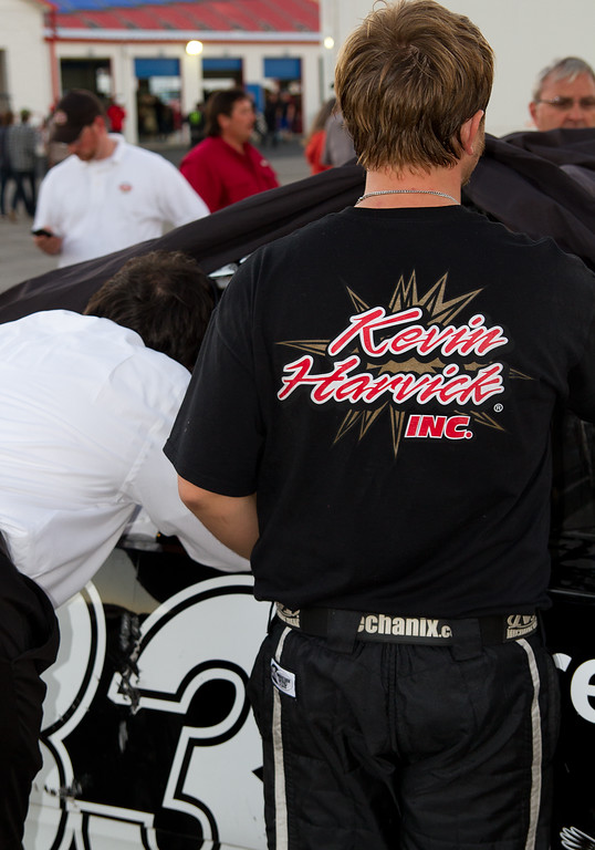 Post crash, the Kevin Harvick, Inc., Hornaday Team works on Truck.