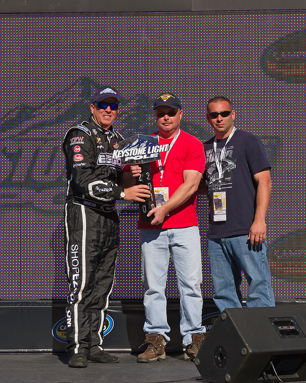 Ron Hornaday, Jr. receives the Pole Award prior to the 2010 NASCAR Camping World Truck Mountain Dew 250 at Talladega Superspeedway, Alabama.