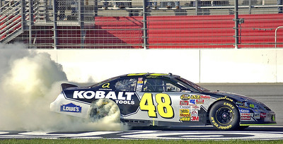 """The traditional """"Smokey Burnout"""" after winning the race."""