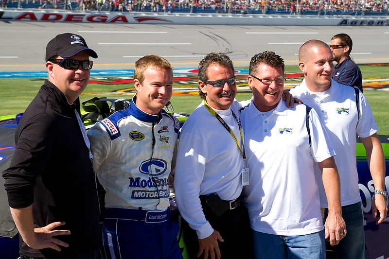 NASCAR Sprint Cup Driver Chad McCumbee, Team, Fans, Sponsors, guests, and Friends on Starting Grid at Talladega.