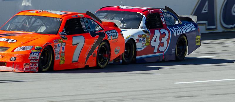 The #43 NASCAR Sprint Cup Car of A.J. Allmendinger was under Robby Gordon's No. 7 Car all day at Talladega.