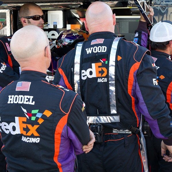 Wood and Hodel Look on with the Rest of the Hamlin Crew During the Final Laps at Talladega Amp Energy Juice 500.