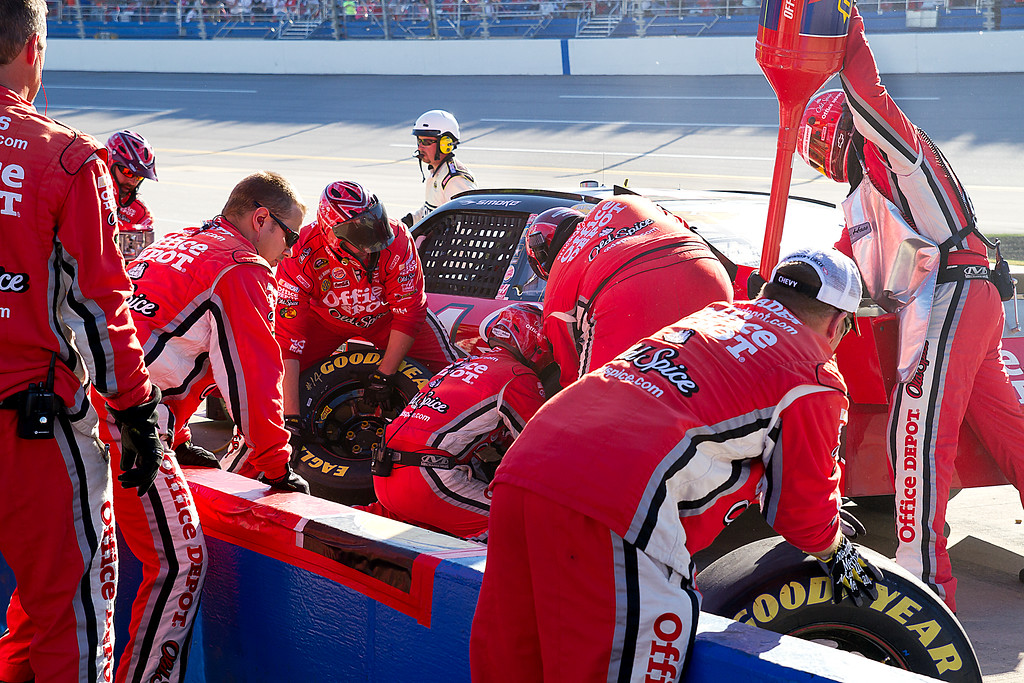 NASCAR Driver Tony Stewart Office Depot Old Spice Team Hard at Work During the Amp Energy Juice 500 at Talladega during Pit Stop.