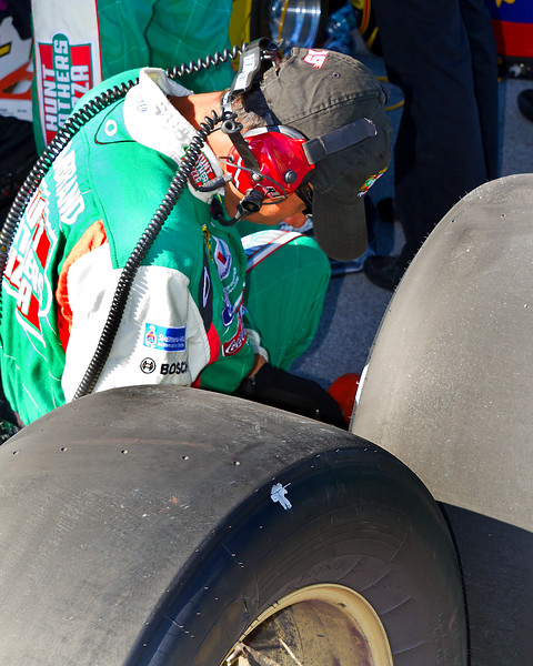 Sadler Team Checking Tires During the Amp Energy Juice 500.