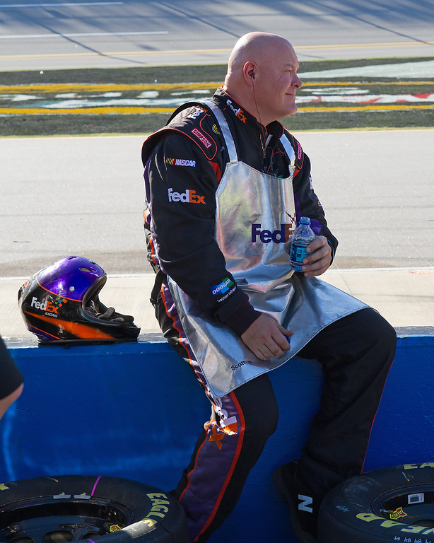 Hamlin Crew Member Wood Taking a Well Deserved Pause During the AMp Energy Juice 500.