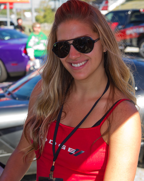 Lovely, Friendly Dodge Girl at Dodge's Fan Display at Amp Energy Juice 500 at Talladega.
