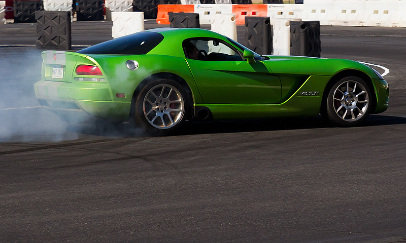 The Dodge Thrill Ride was a huge hit with NASCAR Racing Fans at the Amp Energy Juice 500 at Talladgea.  Fans were treated to laps around a Drifting Course with Professional Drivers in this Dodge Viper and other Dodge cars.