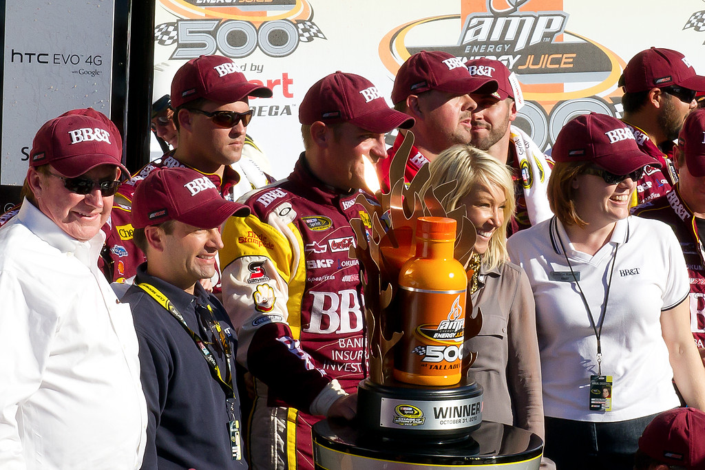 NASCAR Sprint Cup Driver Clint Bowyer on Victory lane After Winning AMp Energy Juice 500 at Talladega
