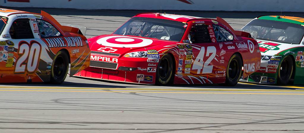 NASCAR Sprint Cup Drivers Logano, Montoya and Sadler Bumper to Bumper at Talladega Am Energy Juice 500.