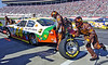 Dale Jarrett's pit crew in action during a pit stop at the Pep Boys 500 Race in Atlanta.