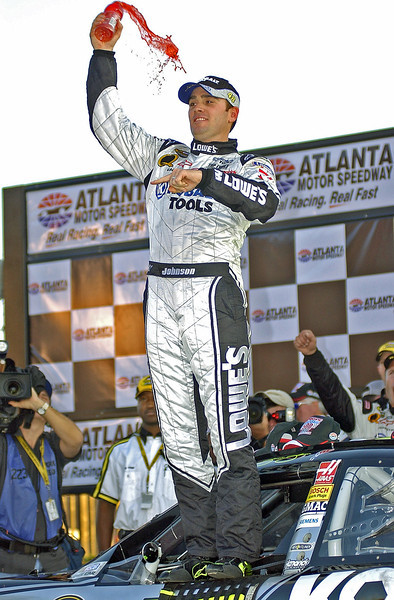 Pep Boys 500 Race Winner Jimmie Johnson celebrates after his win in Atlanta.