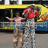 Clowns on stilts