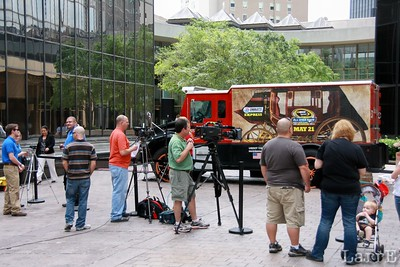 the racing media gathers at Trade & Tryon in Charlotte