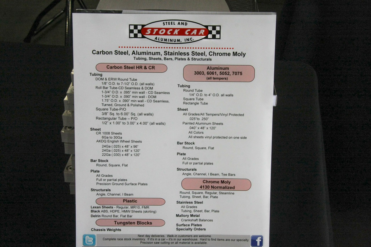 click on photo to see what STOCK CAR STEEL has to offer