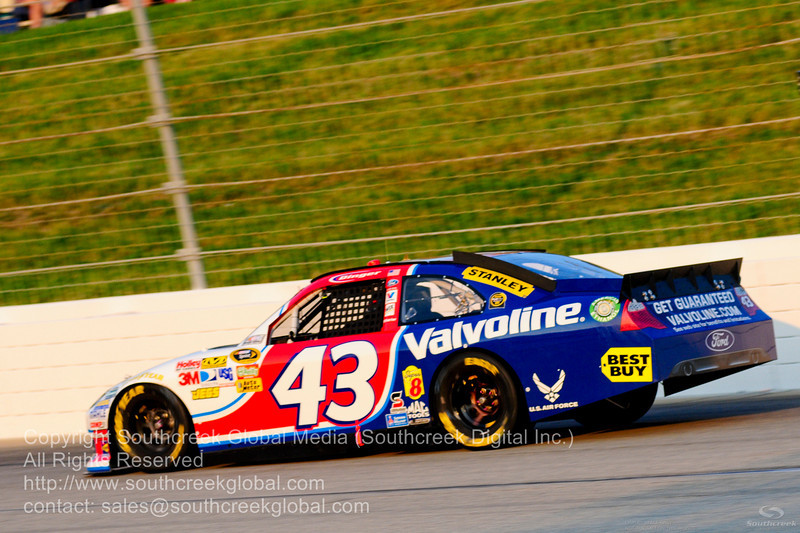 Richard Petty Motorsports driver A.J. Allmendinger (43) in the Valvoline Ford during the NASCAR Inaugural Quaker State 400 at the Kentucky Speedway Sparta,Kentucky.