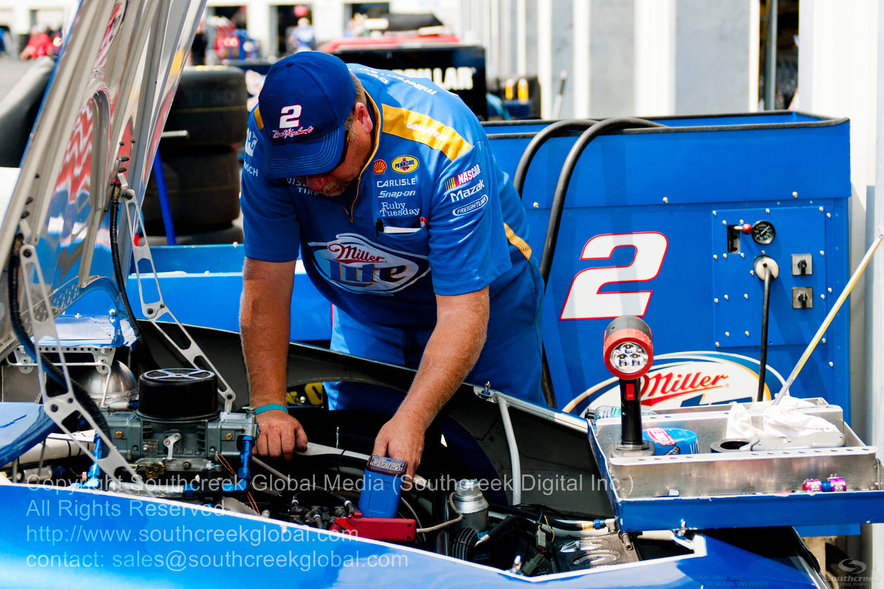 Penske Racing driver Brad Keselowski (2) in the Miller Lite Dodge during the NASCAR Inaugural Quaker State 400 at the Kentucky Speedway Sparta,Kentucky.