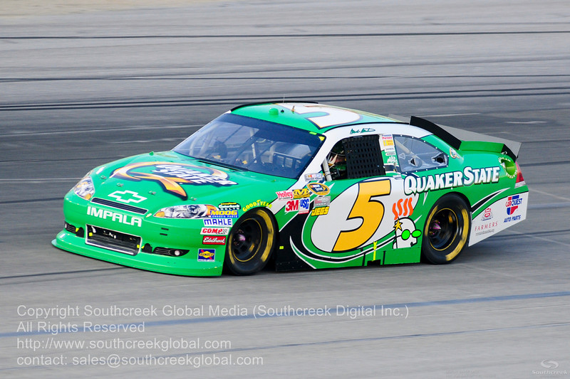 Hendrick Motorsports driver Mark Martin (5) in the Quaker Chevrolet during the NASCAR Inaugural Quaker State 400 at the Kentucky Speedway Sparta,Kentucky.