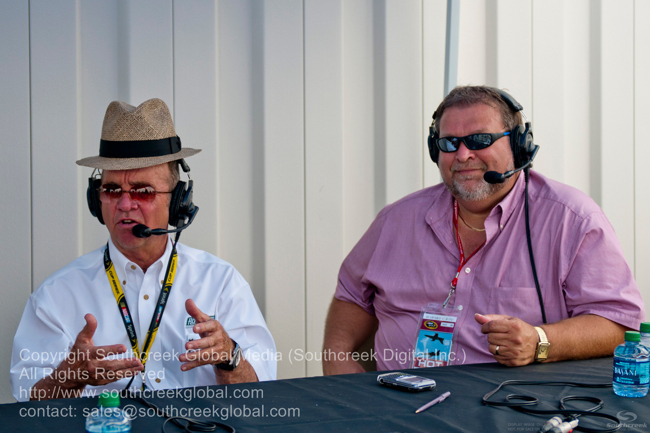 Jack Roush and Dennis Neal on 700 WLW before the NASCAR Inaugural Quaker State 400 at the Kentucky Speedway Sparta,Kentucky.