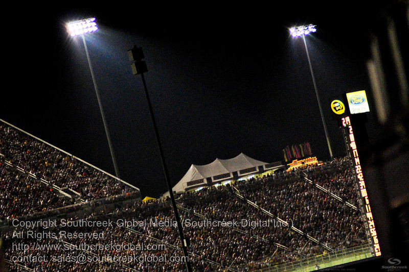Part of the sold out crowd during the NASCAR Inaugural Quaker State 400 at the Kentucky Speedway Sparta,Kentucky.