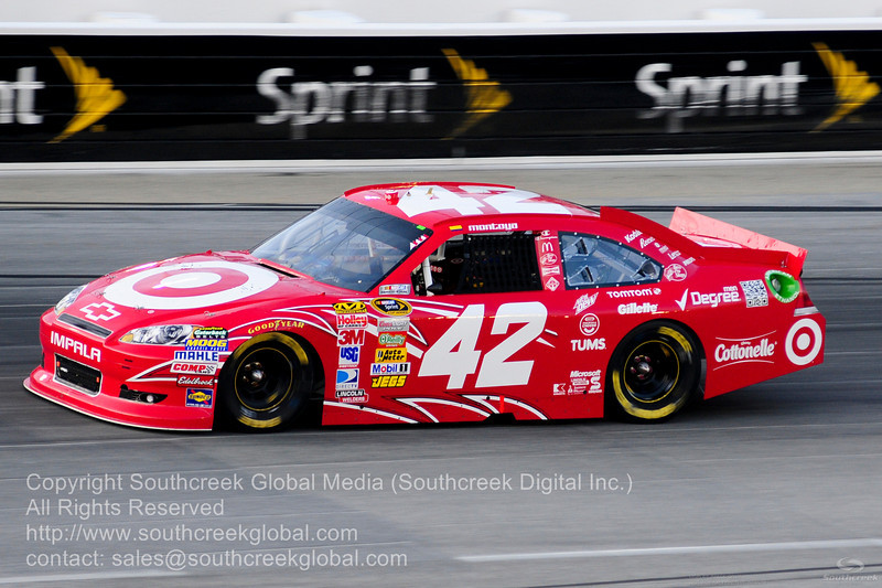 Earnhardt Ganassi Racing driver Juan Montoya (42) in the Target Chevrolet during the NASCAR Inaugural Quaker State 400 at the Kentucky Speedway Sparta,Kentucky.