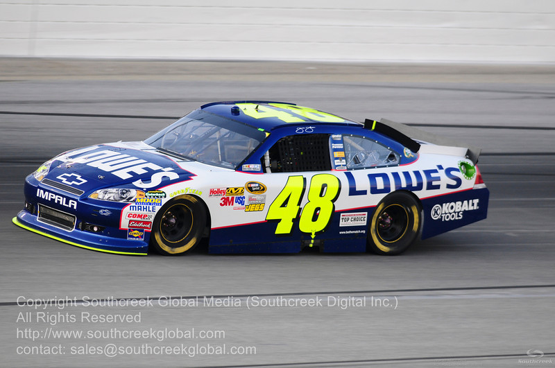 Hendrick Motorsports driver Jimmie Johnson (48) in the Lowes Chevrolet during the NASCAR Inaugural Quaker State 400 at the Kentucky Speedway Sparta,Kentucky.