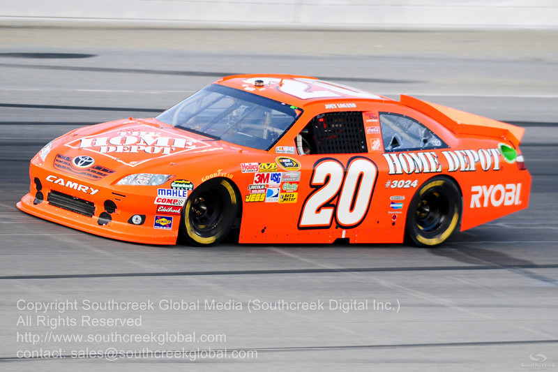 Joe Gibbs Racing driver Joey Logano (20) in the The Home Depot Toyota during the NASCAR Inaugural Quaker State 400 at the Kentucky Speedway Sparta,Kentucky.