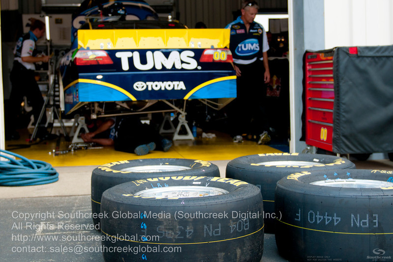 Michael Waltrip Racing driver David Reutimann (00) in the Tums Toyota garage before the NASCAR Inaugural Quaker State 400 at the Kentucky Speedway Sparta,Kentucky.