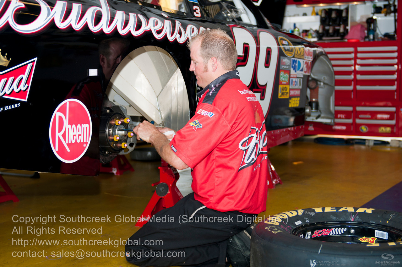 Richard Childress Racing driver (29) in the Budweiser Chevrolet garage before the NASCAR Inaugural Quaker State 400 at the Kentucky Speedway Sparta,Kentucky.