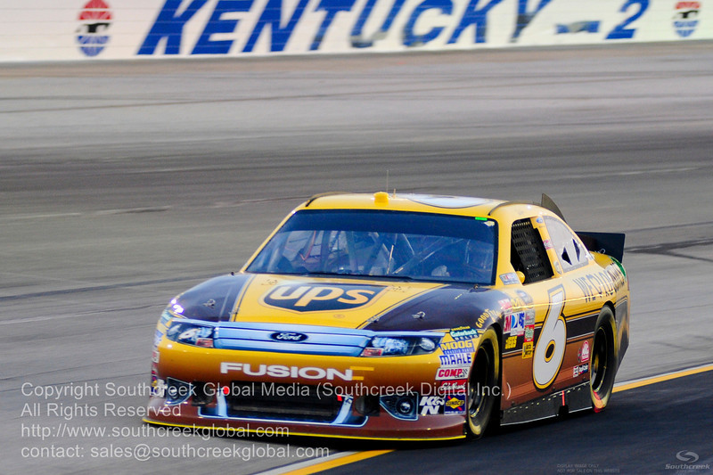 """Roush Fenway Racing driver David Ragan (6) in the UPS """"We Love Logistics"""" Ford during the NASCAR Inaugural Quaker State 400 at the Kentucky Speedway Sparta,Kentucky."""