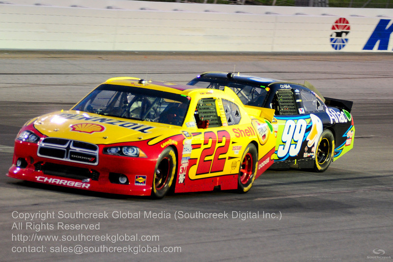 Penske Racing driver Kurt Busch (22) in the Shell/Pennzoil Dodge during the NASCAR Inaugural Quaker State 400 at the Kentucky Speedway Sparta,Kentucky.