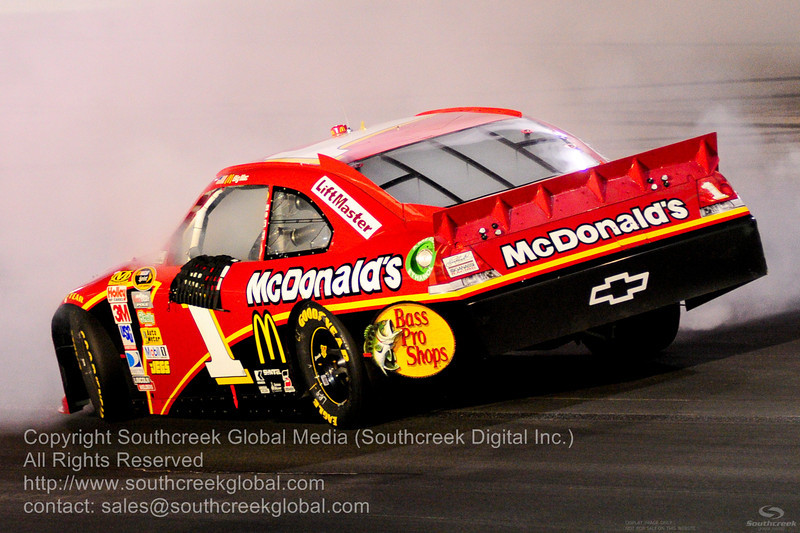Earnhardt Ganassi Racing driver Jamie McMurray (1) in the McDonalds Chevrolet during the NASCAR Inaugural Quaker State 400 at the Kentucky Speedway Sparta,Kentucky.