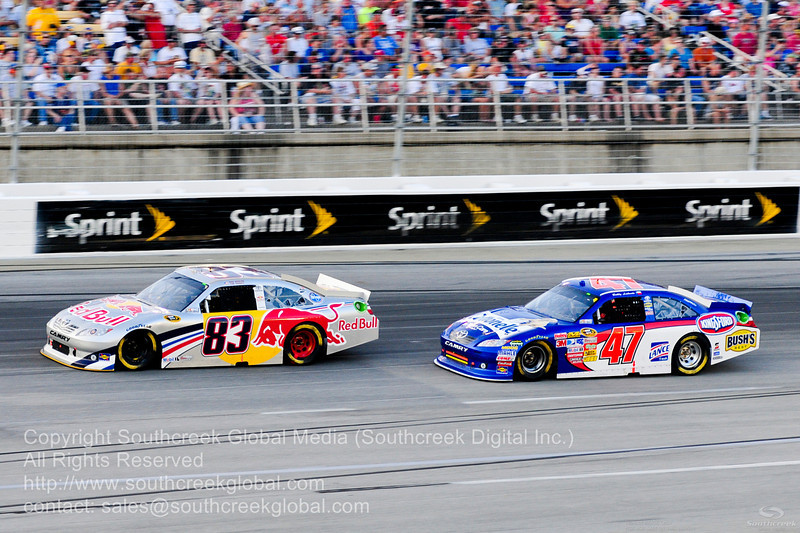 Red Bull Racing Team driver Brian Vickers (83) in the Red Bull Toyota and JTG Daugherty Racing driver Bobby Labonte (47) in the Scott Products Toyota during the NASCAR Inaugural Quaker State 400 at the Kentucky Speedway Sparta,Kentucky.