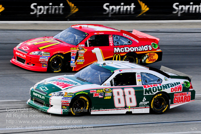 Hendrick Motorsports driver Dale Earnhardt Jr. (88) in the Diet Mountain Dew Chevrolet during the NASCAR Inaugural Quaker State 400 at the Kentucky Speedway Sparta,Kentucky.