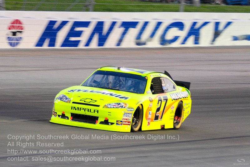 Childress Racing driver Paul Menard (27) in the Sylvania/Menards Chevrolet during the NASCAR Inaugural Quaker State 400 at the Kentucky Speedway Sparta,Kentucky.