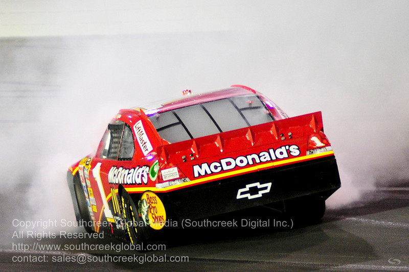 Earnhardt Ganassi Racing driver Jamie McMurray (1) in the McDonalds Chevrolet blew the engine during the NASCAR Inaugural Quaker State 400 at the Kentucky Speedway Sparta,Kentucky.